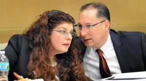 Fort Lauderdale Federal Criminal Defense Attorney Ken Padowitz with client Stephanie Kraft during Trial