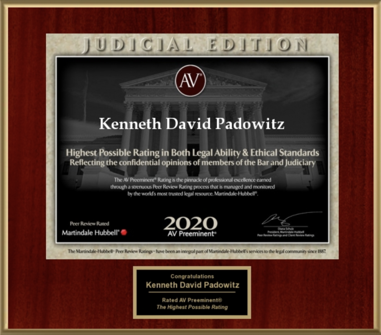 KEN PADOWITZ RECEIVES TOP AV RATING FOR 15 YEARS